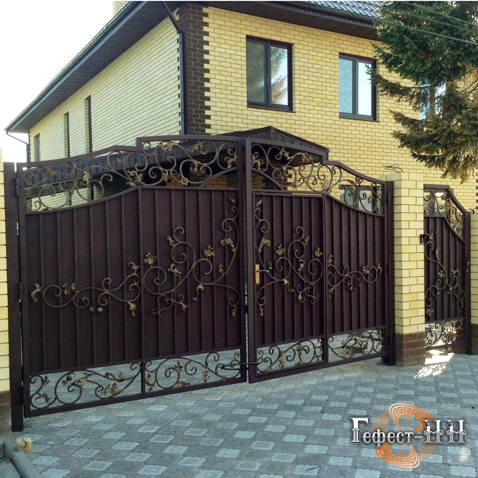 Ворота029 самодельные ворота в свой дом